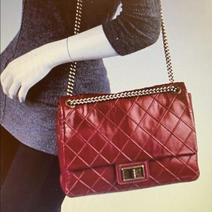 CHANEL Red Quilted Leather Cosmos Jumbo Flap Bag
